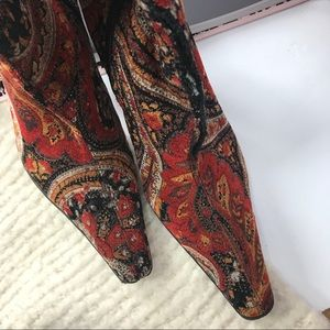 Shoes - Bohemian Tapestry Knee High Stiletto Boots Paisley